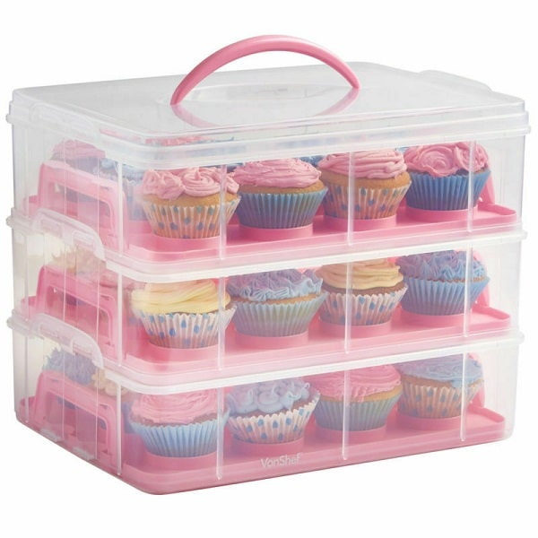VonChef Snap and Stack 3 Tier Cupcake Holder & Cake Carrier Container